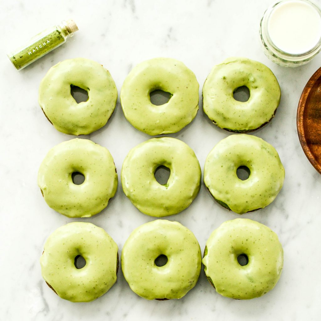 Spinach donuts with matcha glaze
