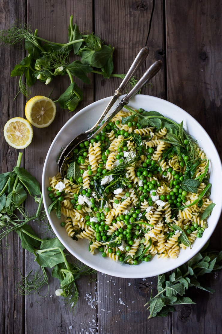 Spring pea pasta with truffle oil