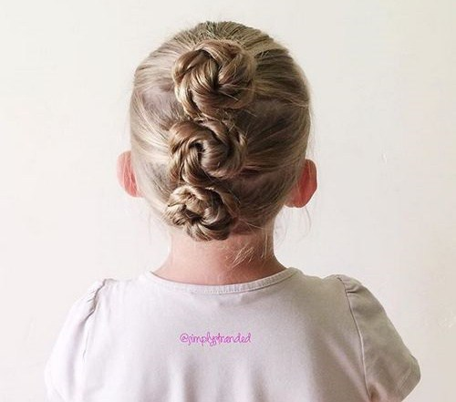 Three rope twist buns toddler hairstyle