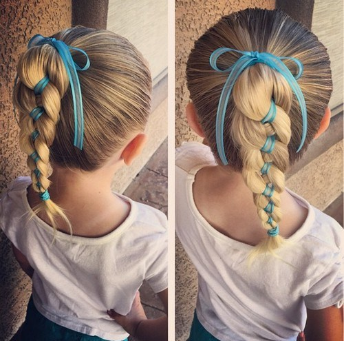 Toddler girl braided ponytail for long hair