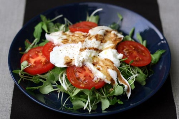 Tomato and mozzarella microgreens salad