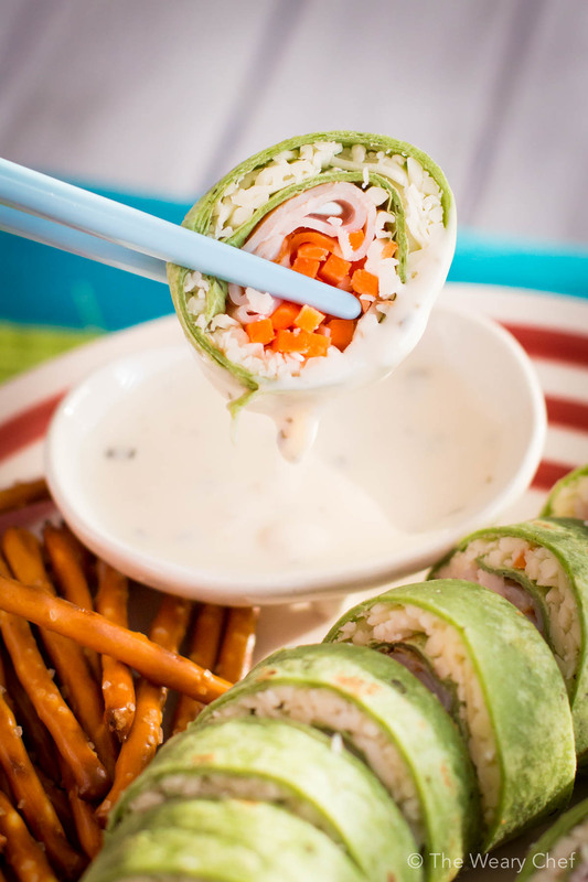 Turkey and cheese sushi sandwiches