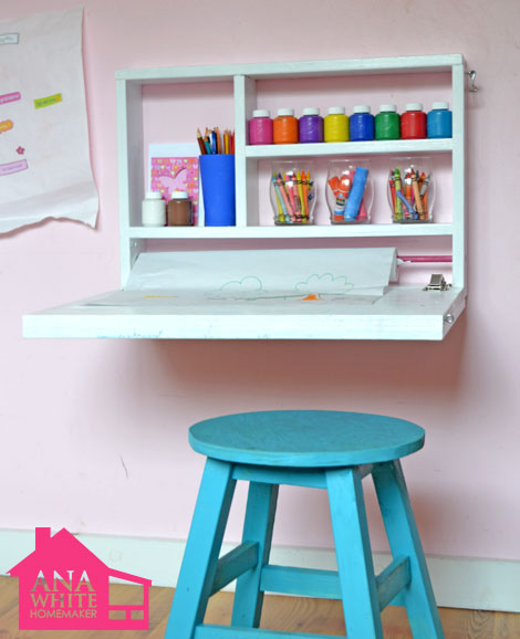 Wall art desk fold down diy