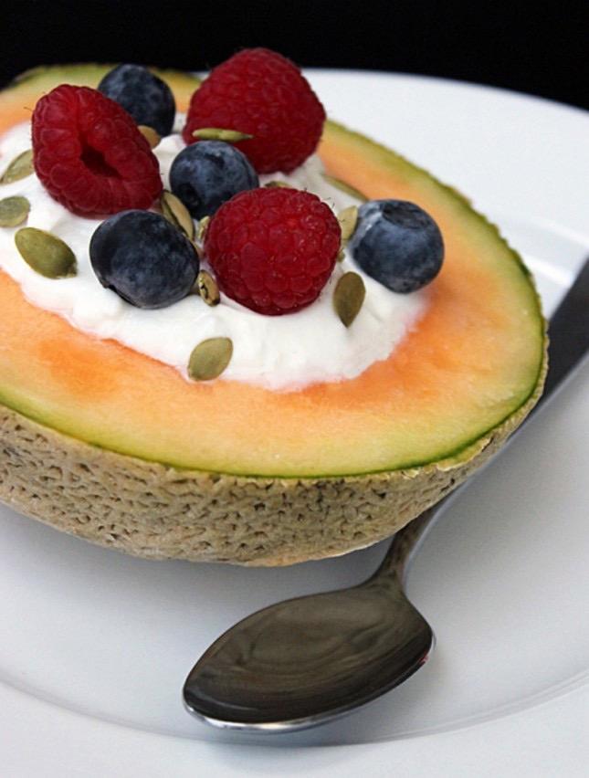 Yogurt-Filled Cantaloupe Melon Bowl