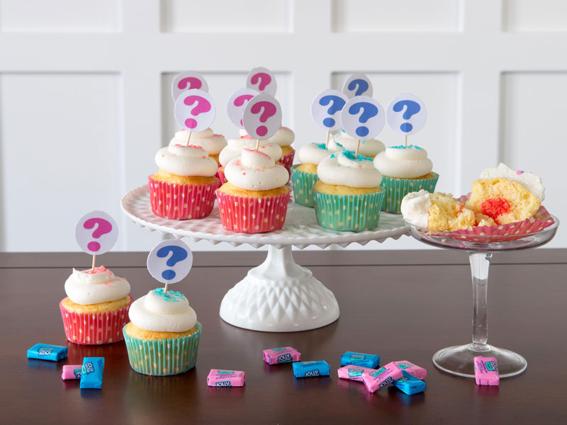 Jolly Rancher gender reveal cupcakes