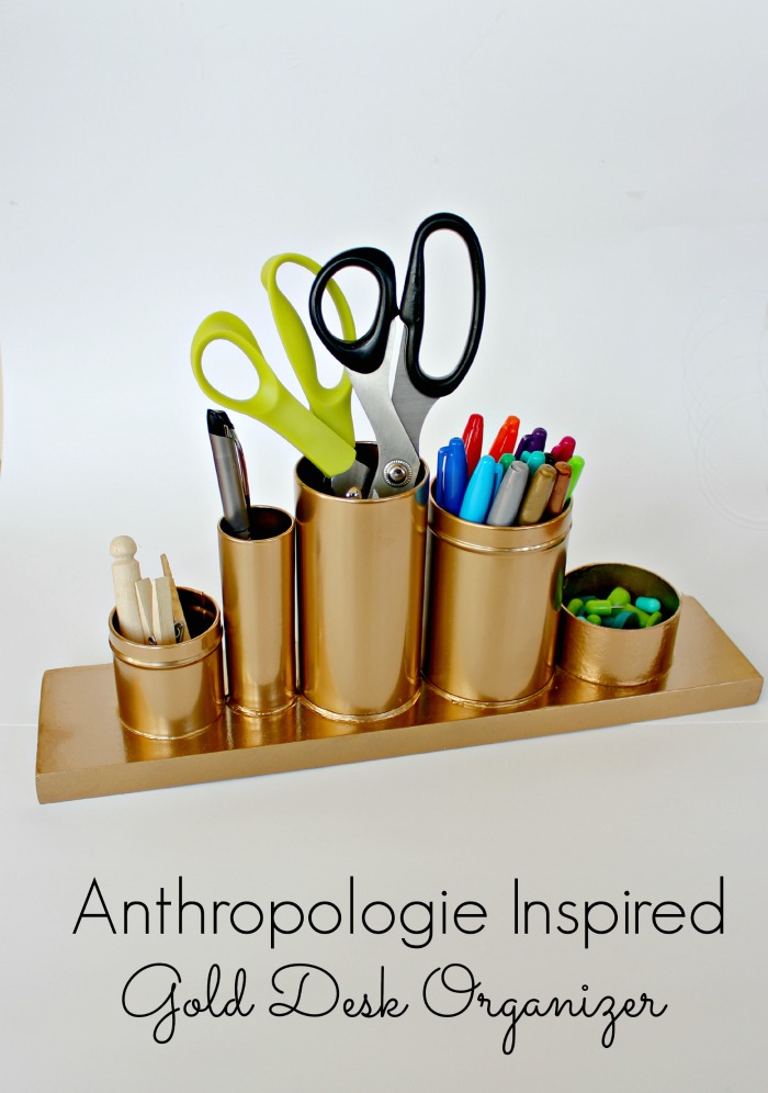 Anthropologie knock off gold desk organizer