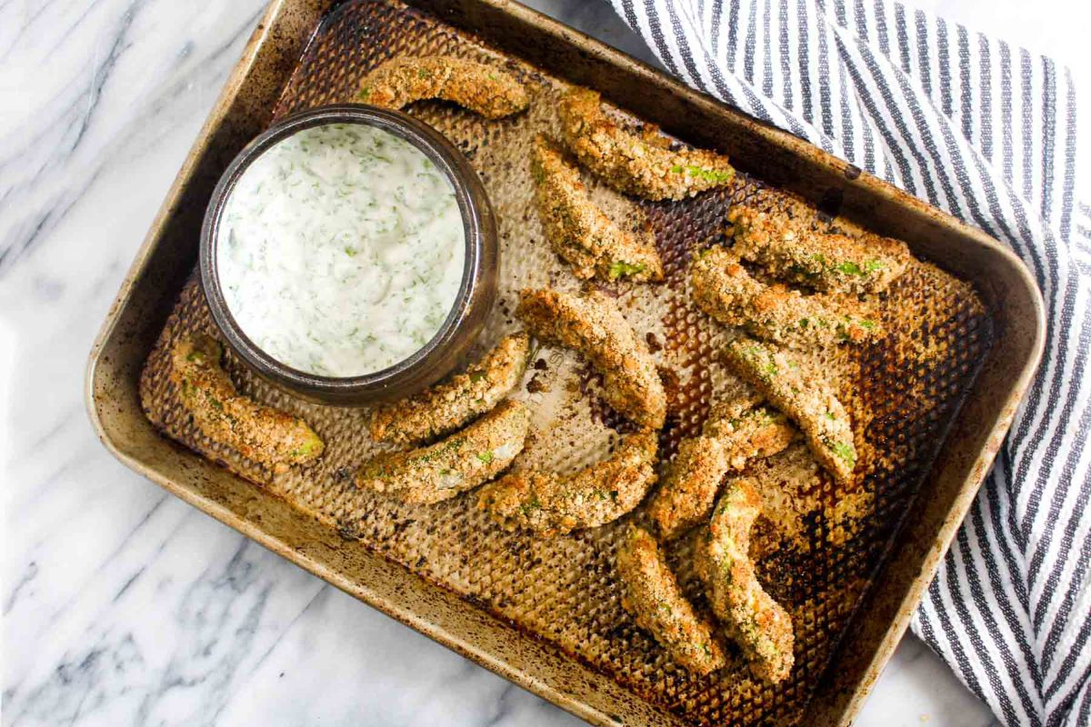 Avocado fries with cilantro lime dipping sauce