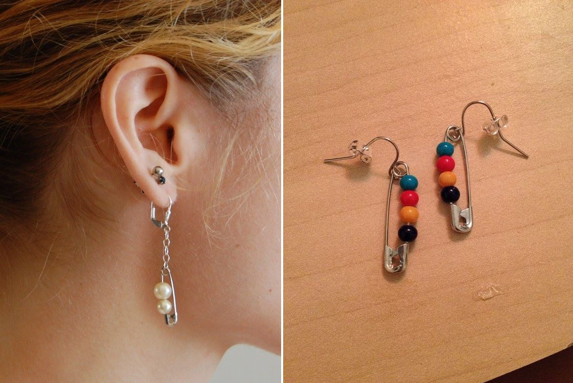 Beaded safety pin earrings