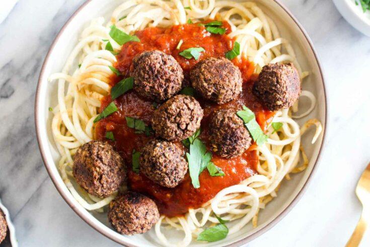 Black bean and mushroom meatballs serve