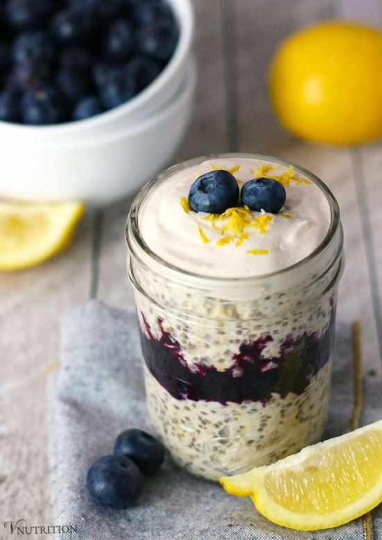 Blueberry lemon cheesecake overnight oats 1