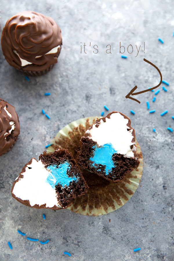 Boy or girl gender reveal cupcakes