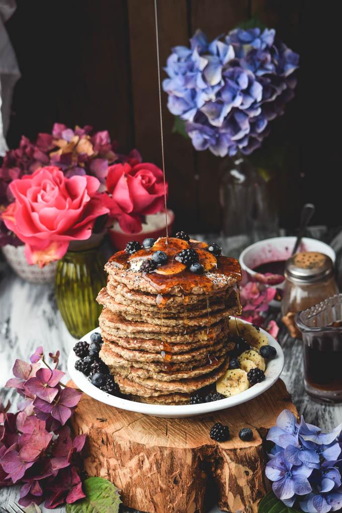 Chia oat banana pancakes vegan gluten free recipe