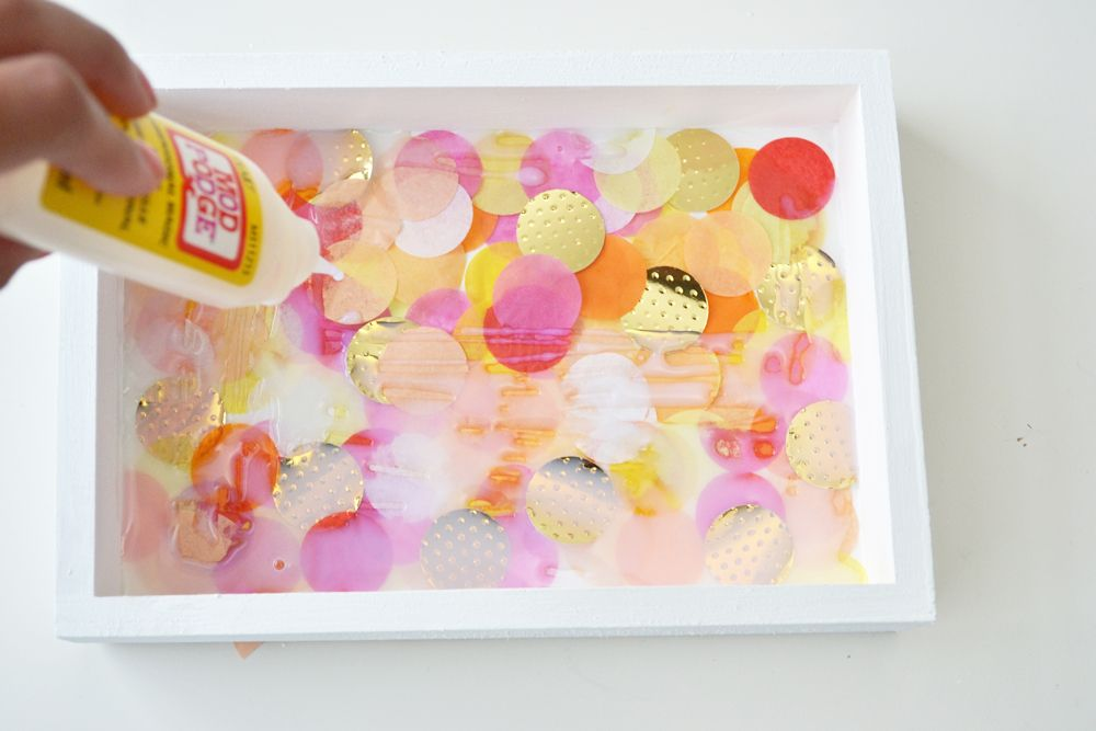 Confetti jewelry trays modpodge