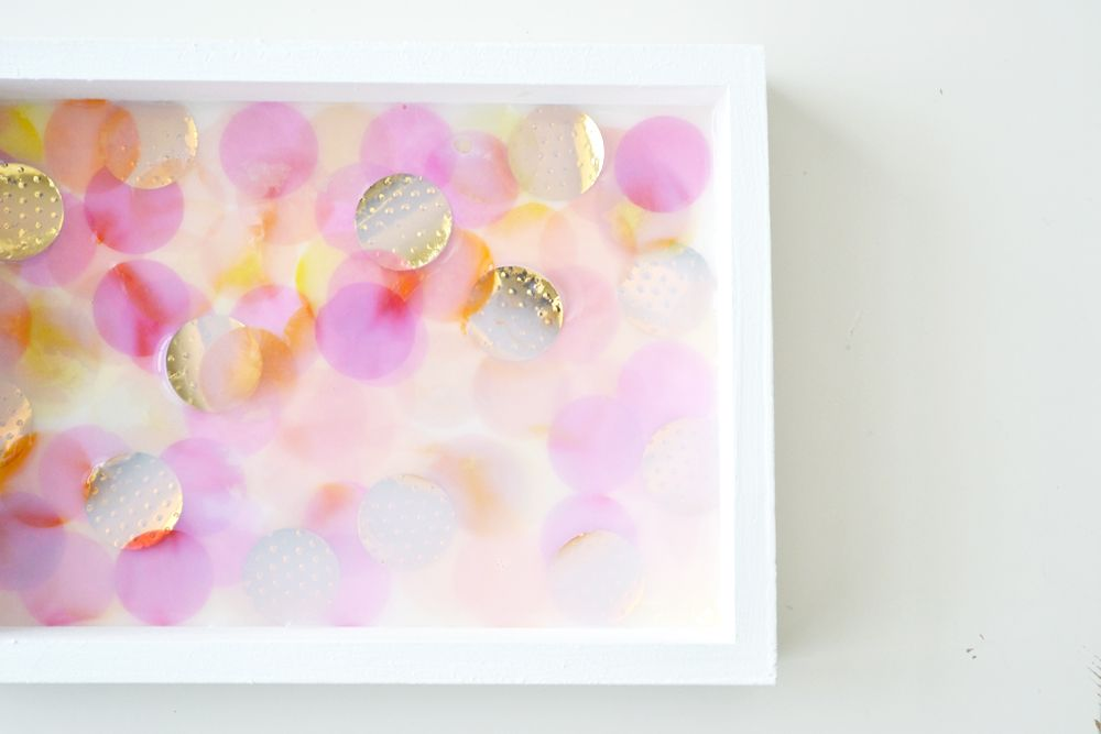 Confetti jewelry trays squeeze and pour modpodge