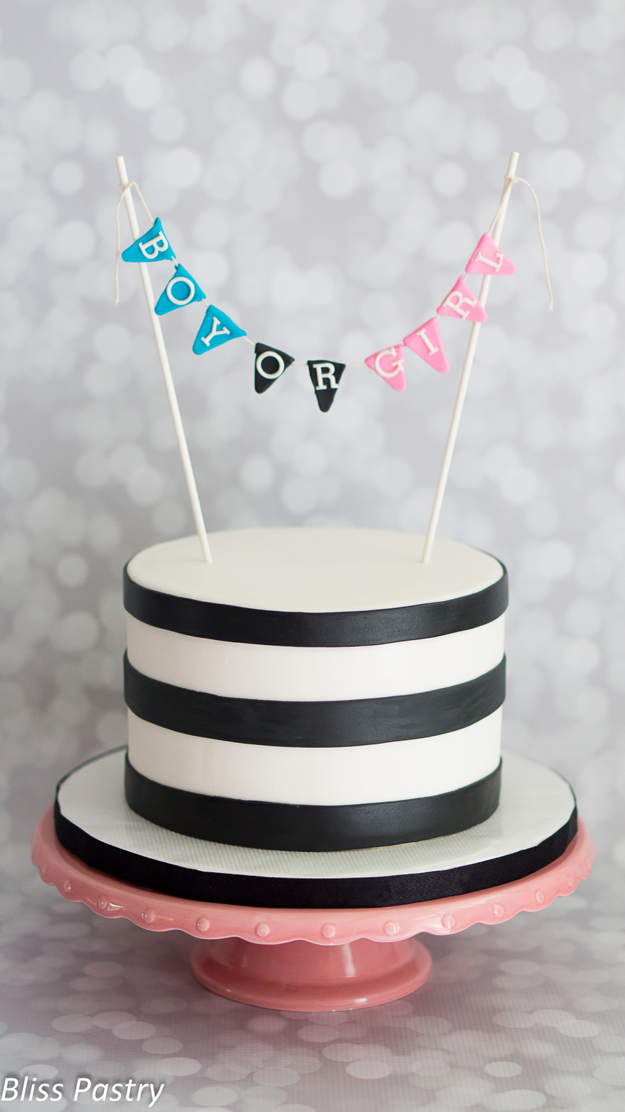 Diy black and white gender reveal cake