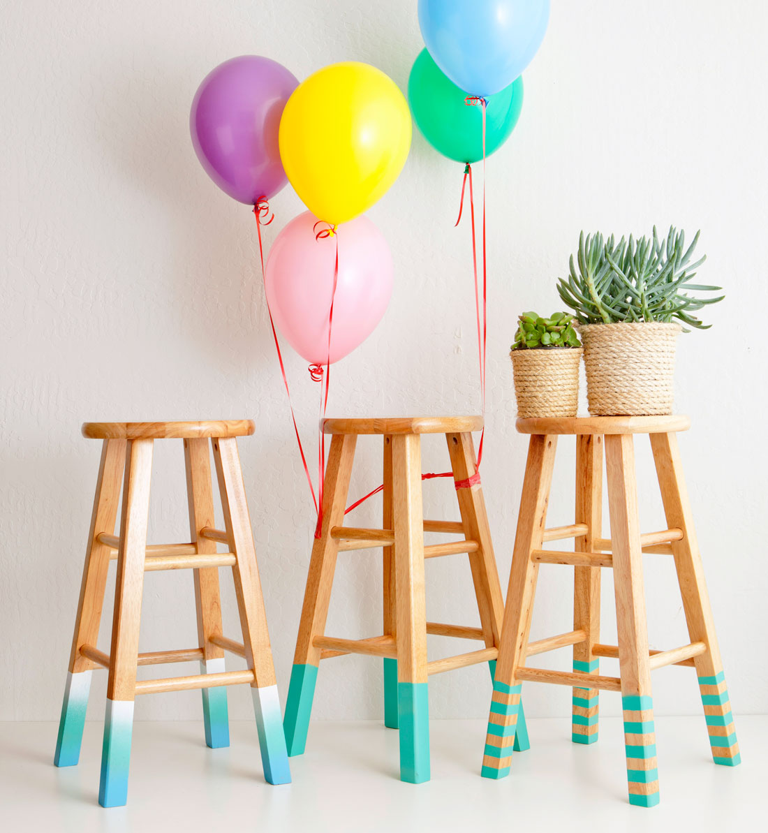 Diy color dipped bar stools