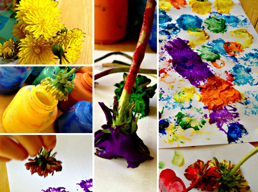 Diy dandelion paintbrush art