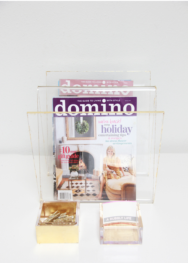 Diy gold leaf lucite office supplies