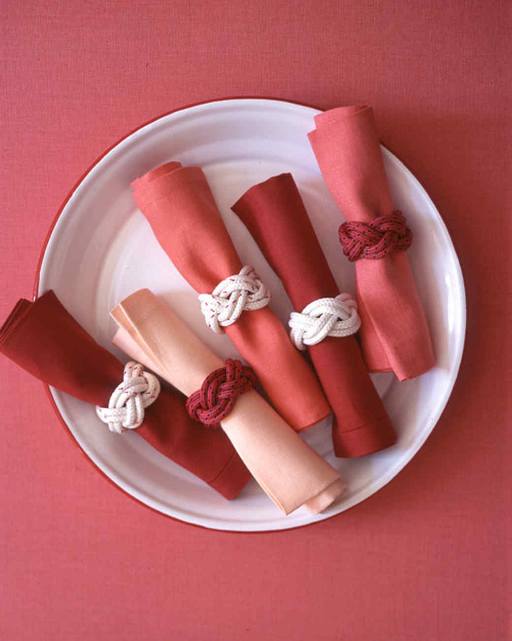 Diy knotted napkin rings