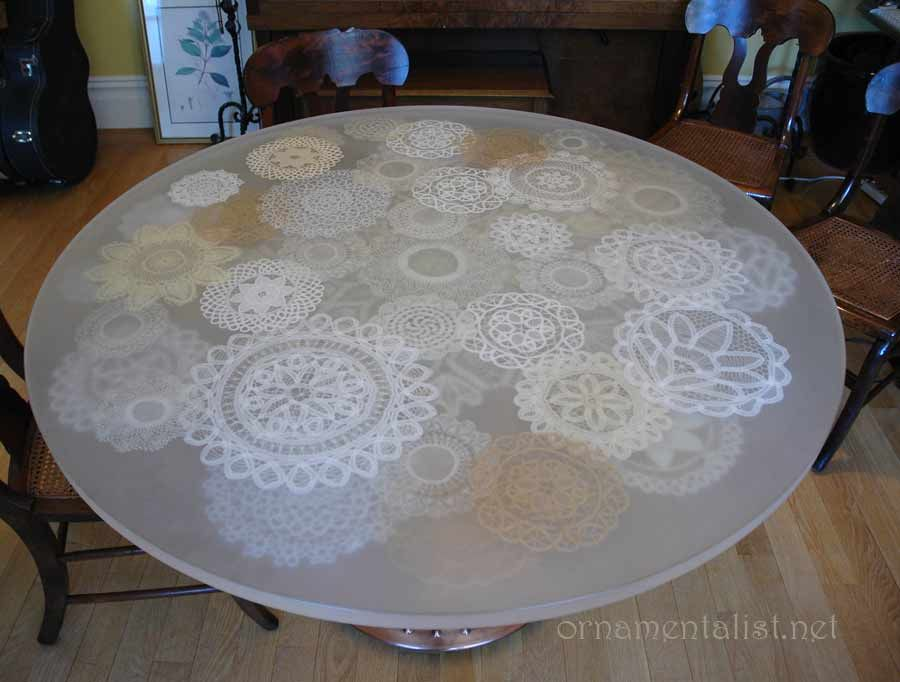 Diy lace doily tabletop