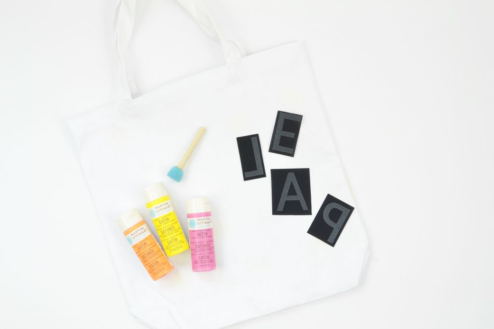 Diy letter transfer tote bags supplies