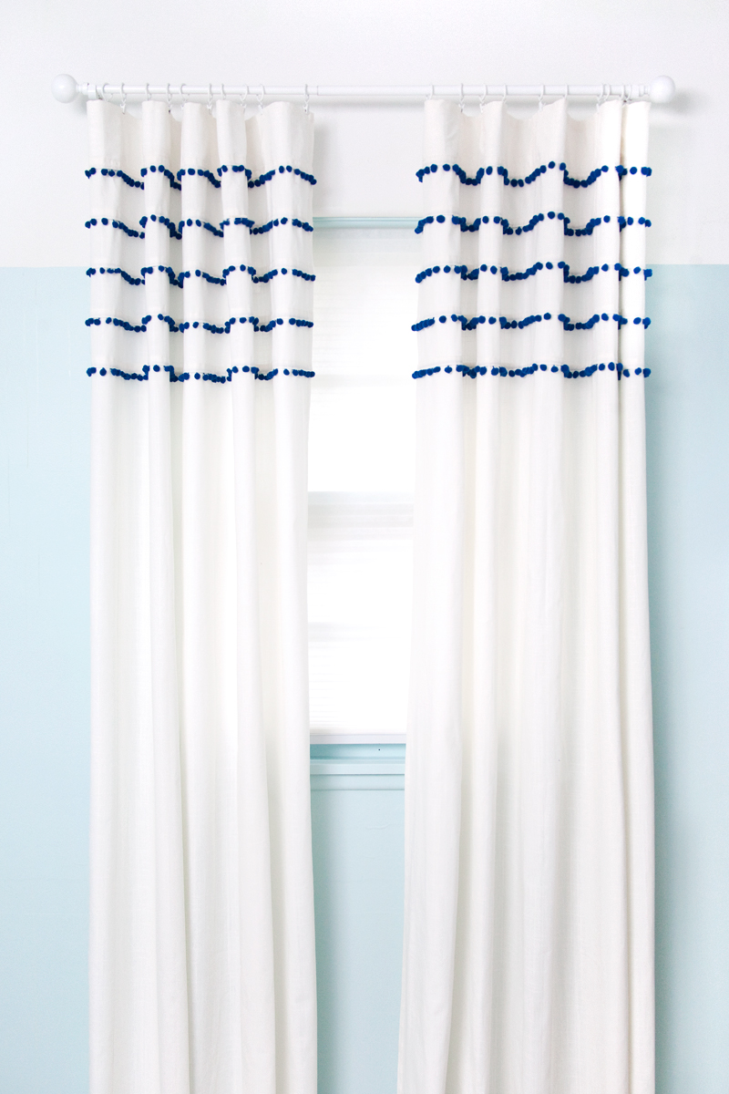Diy pleated pom pom curtains