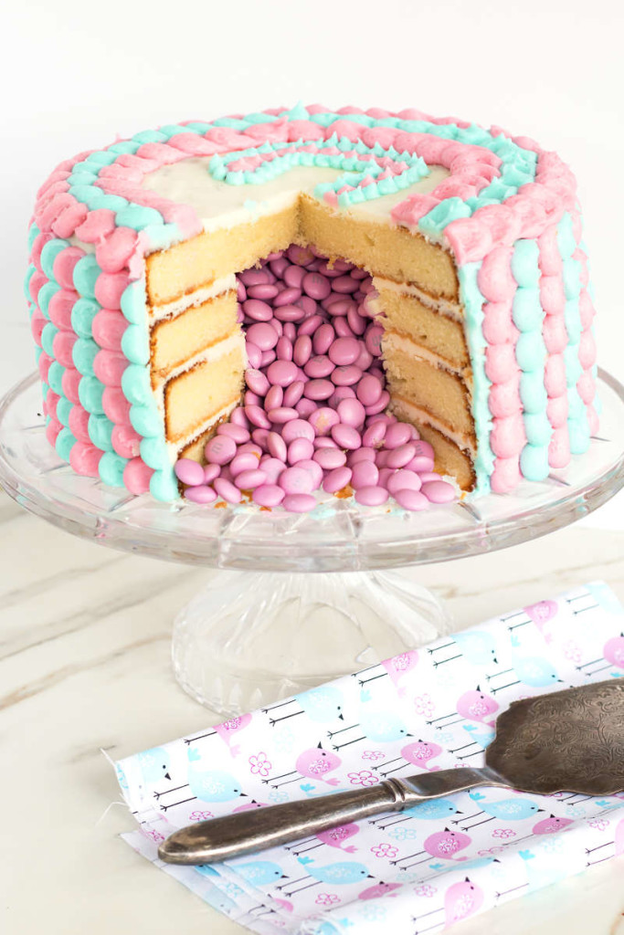 Diy scalloped gender reveal cake