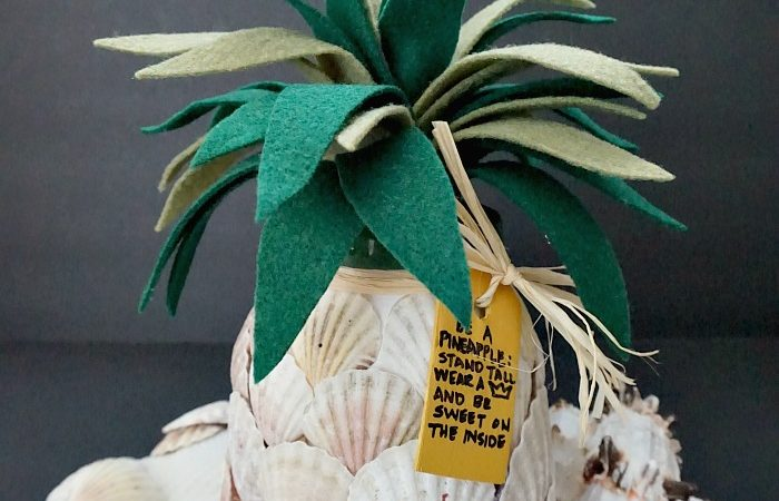Diy seashell pineapple jar