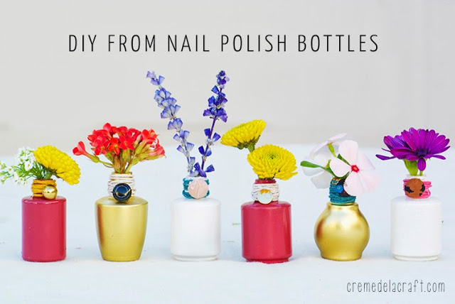 Diy flower bud vases nail polish bottles