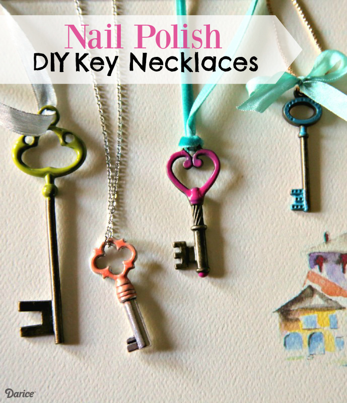Diy key necklace using nail polish