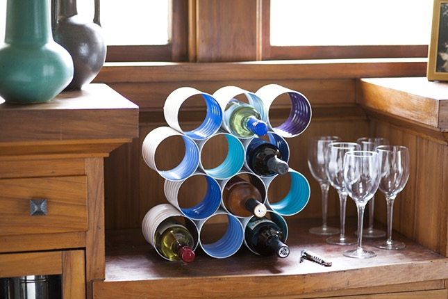 Diy coffee can wine rack