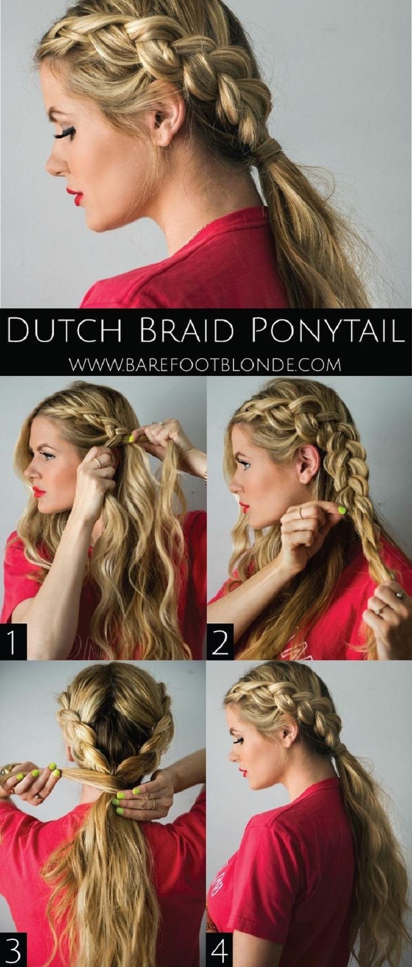 Dutch braid into a low pony