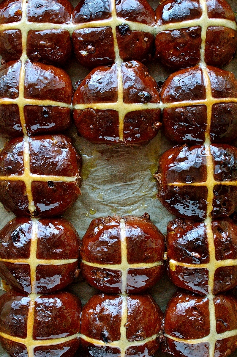 Chocolate orange hot cross buns - a delicious chocolatey take on the classic Easter bread.