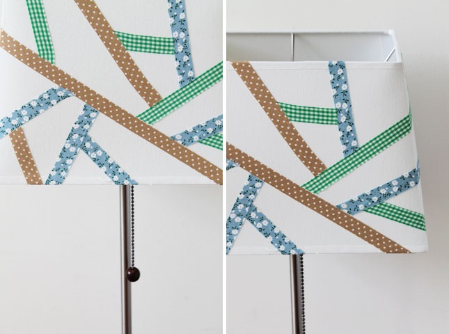 Fabric tape diy lampshade