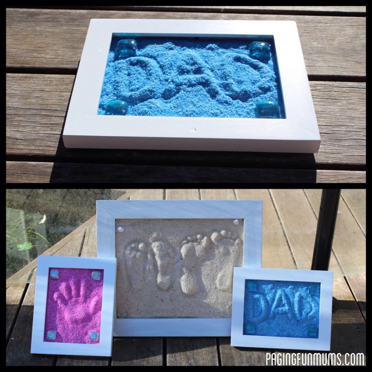 Family sand hands framed