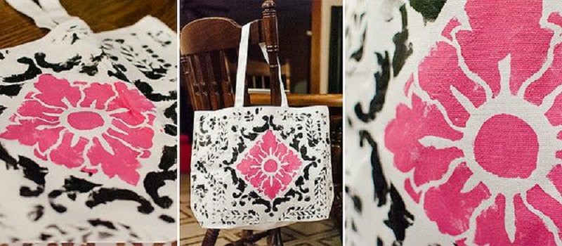 Floral stencilled tote bag