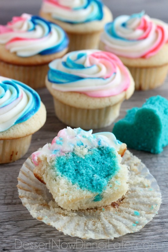 Gender reveal cupcakes with hearts diy