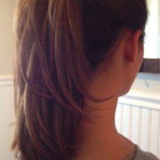 High layered ponytail