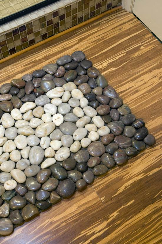 How to diy stone floor mat 8