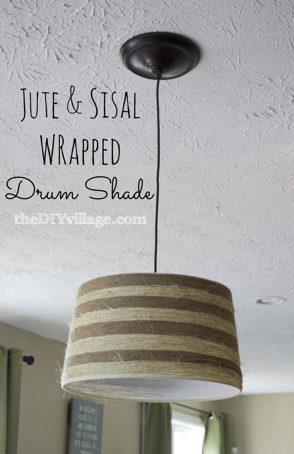 Jute sisal wrapped drum shade