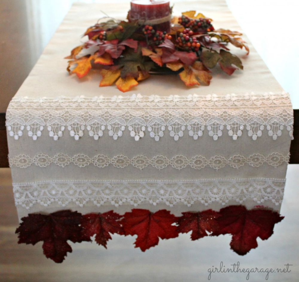Lace table runner for fall