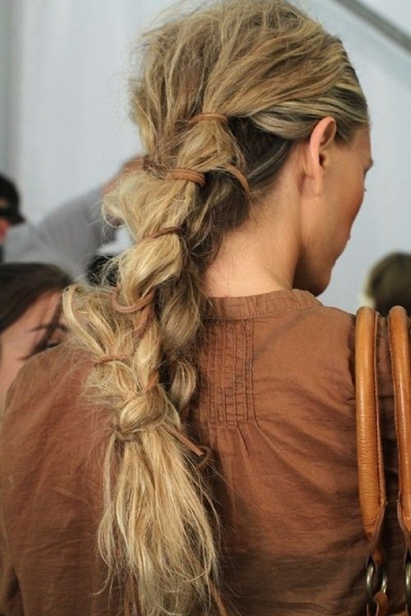 Leather laced ponytail