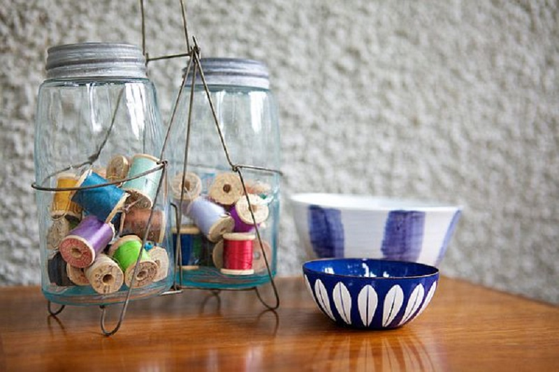 Mason jar sewing storage