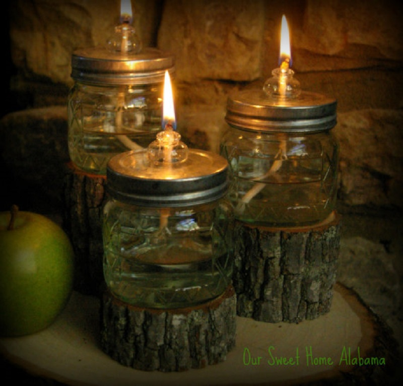 Mason jar tree trunk oil lamps