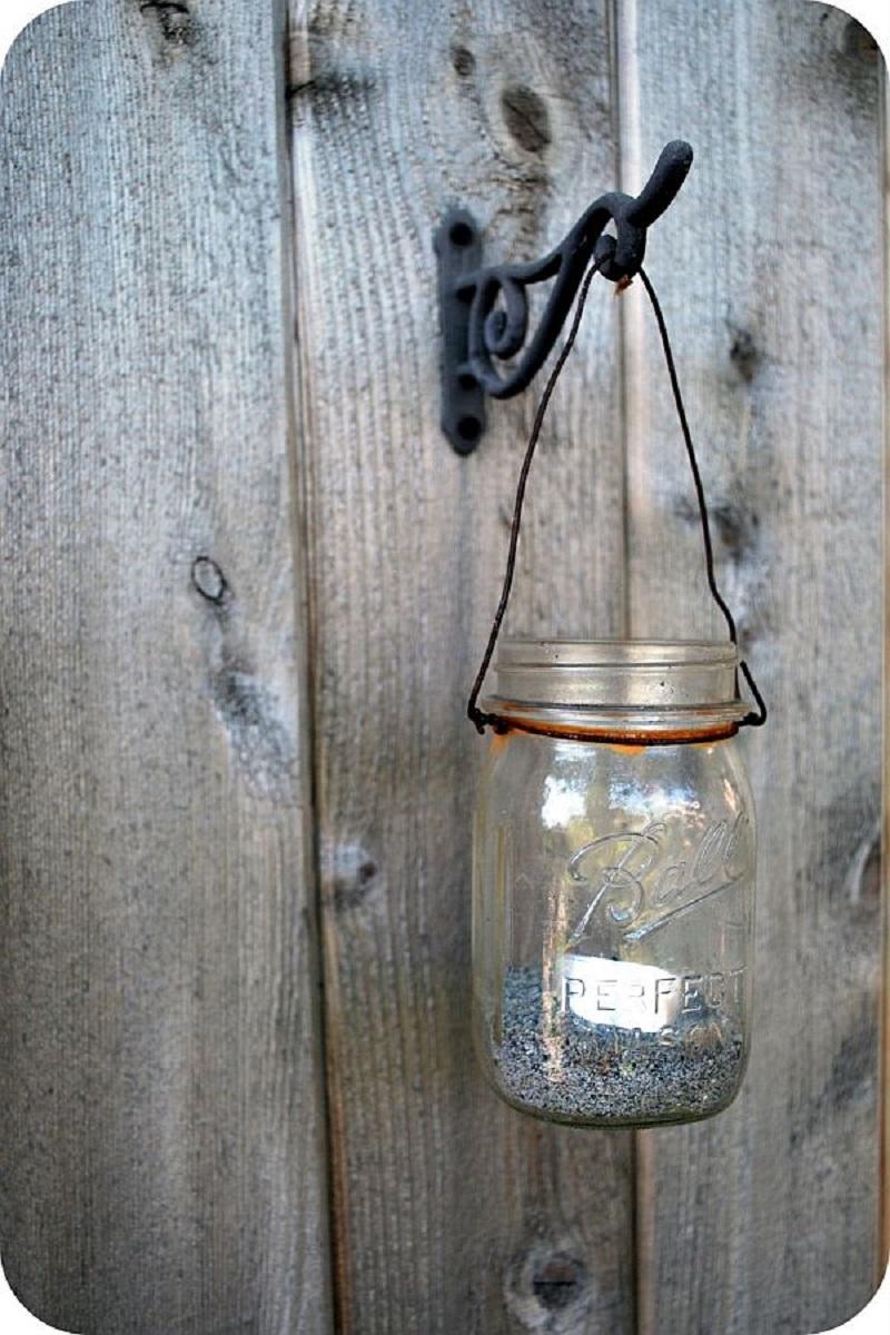Mason jar yard lantern