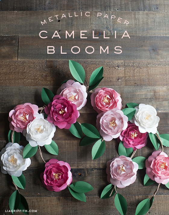 Metallic paper camellia flowers diy