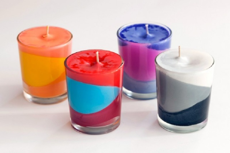 Multi coloured crayon candles