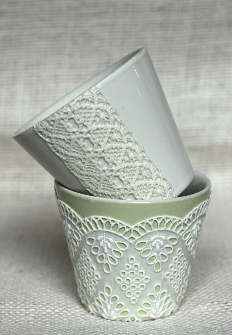 Natural decoupage lace mugs diy
