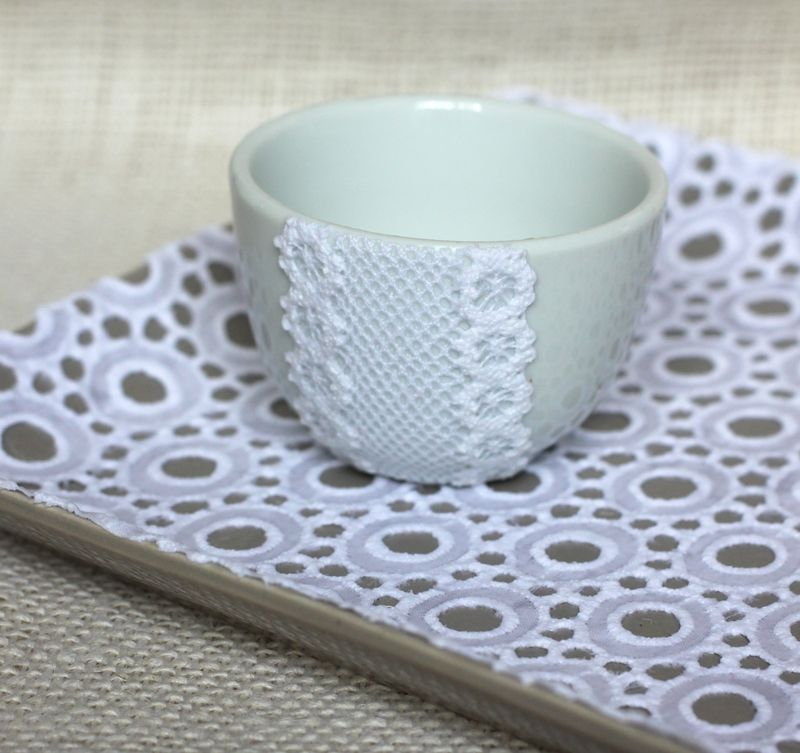 Natural decoupage lace mugs