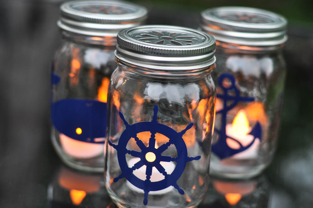 Nautical mason jar lanterns diy